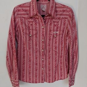 Lucky🌸pink on pink western style shirt🌸sz L🌸EUC